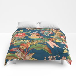 Antique French Chinoiserie in Blue Comforters