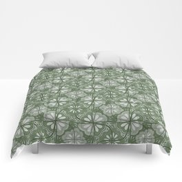 Continuous Flowers Pattern Tessellation in Green Comforters