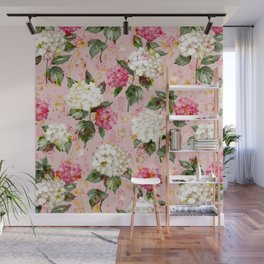 Vintage green pink white bohemian hortensia flowers Wall Mural