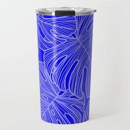 Cobalt Monstera Leaves Travel Mug