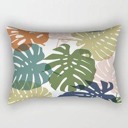 Tropical Monstera - orange Rectangular Pillow