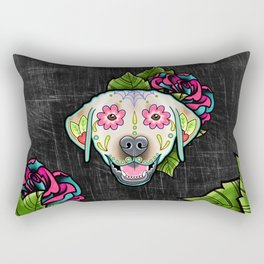Labrador Retriever - Yellow Lab - Day of the Dead Sugar Skull Dog Rectangular Pillow