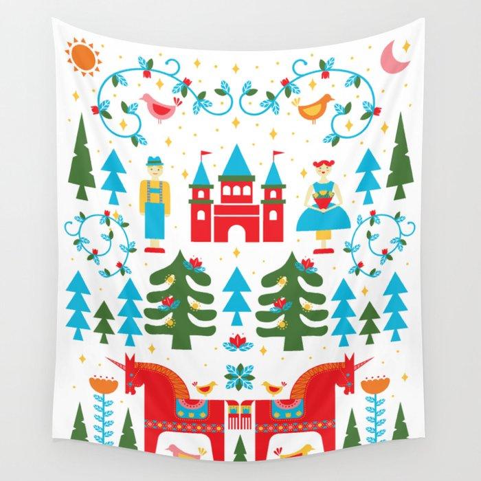 Scadinavian Fairytale Bright Wall Tapestry