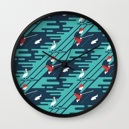 Fishing on the Dock Pattern Wall Clock