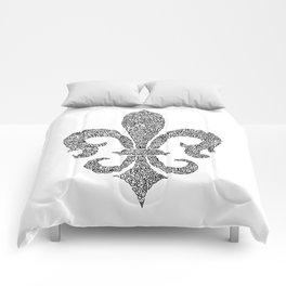 fleur de lis doodle abstract shapes Comforters