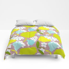 Pears + Pear Blossoms Comforters