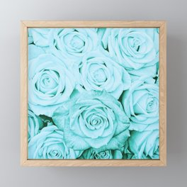Turquoise roses - flower pattern - Vintage rose Framed Mini Art Print
