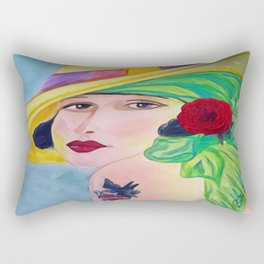 Lady With The Yellow Hat Rectangular Pillow