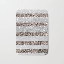 White Marble Rose Gold Glitter Stripe Glam #2 #minimal #decor #art #society6 Bath Mat