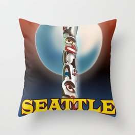 Seattle Totem pole travel poster Throw Pillow