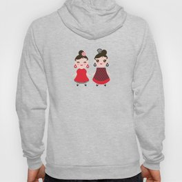 Seamless pattern spanish Woman flamenco dancer. Kawaii cute face with pink cheeks and winking eyes. Hoody