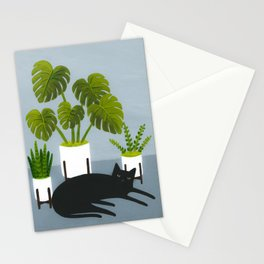 Black Cat With Potted Plants Stationery Cards