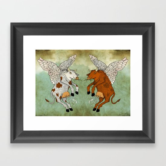 Las vacas voladoras - El día que Framed Art Print