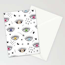 Spiritual Luck Eyes Pattern Stationery Cards