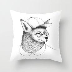 Hipster Fox Throw Pillow