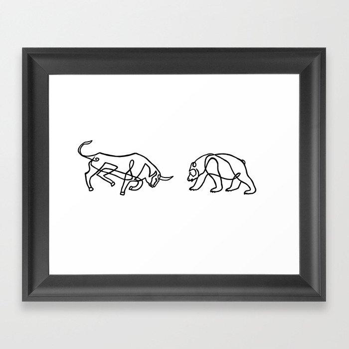Bull vs Bear Gerahmter Kunstdruck