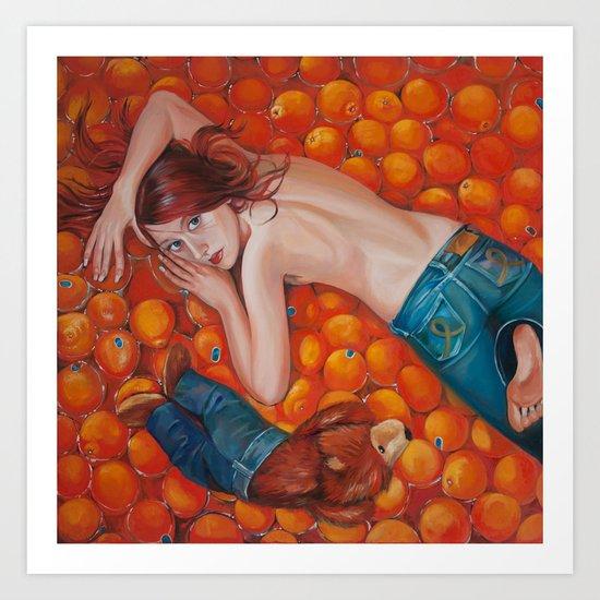 Lines of Me. Scarfy & Oranges.  Art Print