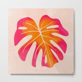 Wild Thing   Pink-Sunset Monstera Leaf Metal Print