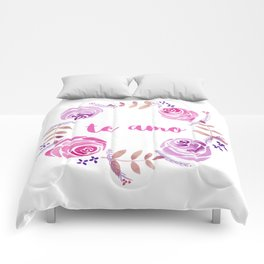 Te Amo - Pink Watercolor Floral Wreath 'I love you' in Spanish Comforters