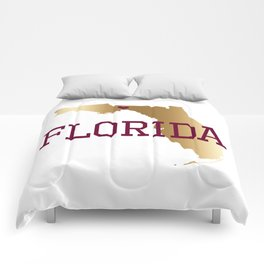 Florida Gold and Garnet with State Capital Typography Comforters