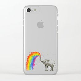 Baby Elephant Spraying Rainbow Clear iPhone Case