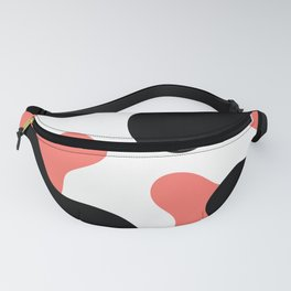 Abstract Blobs (Pantone Living Coral and Black) Fanny Pack