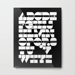 Alphabet Black & White Metal Print
