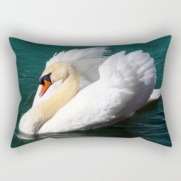 Swan Floating on the Water Rectangular Pillow