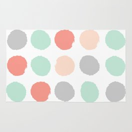 Painted minimal dots trendy gender neutral bright happy color palette nursery art Rug