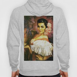 Jesus Helguera Painting of a Mexican Calendar Girl with Fan Hoody