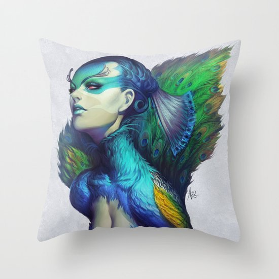 Peacock Queen Throw Pillow