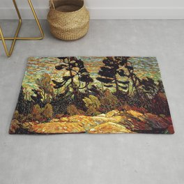 Tom Thomson - Summer Shore, Georgian Bay  - Canada, Canadian Oil Painting - Group of Seven Rug