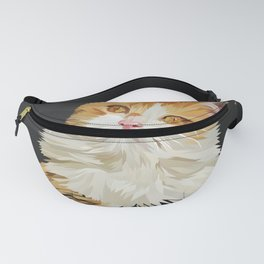 Low Poly Abstract Cute Cat Illustration Fanny Pack