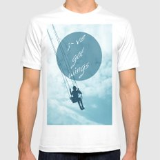 Wings MEDIUM White Mens Fitted Tee