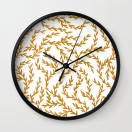 Golden Leaves Watercolor Pattern Wall Clock
