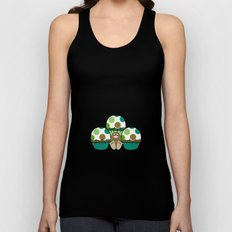 Cute Monster With Green And Brown Polkadot Cupcakes Unisex Tank Top