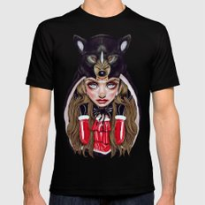 Red Riding Hood Black X-LARGE Mens Fitted Tee
