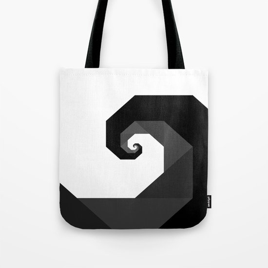 Black, Gray and White Abstract Barrel Wave - Surfs Up Tote Bag