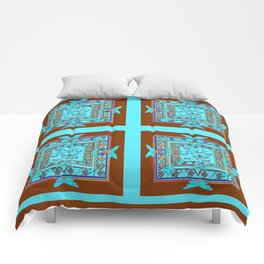 Western Coffee Brown Turquoise Butterfly Art Comforters