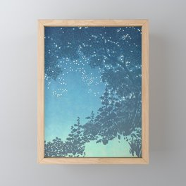 In the night - George Auriol - 1904 Sky Tree Firefly Silhouette Blue Turquoise Ombre Framed Mini Art Print