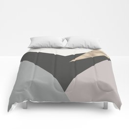 Abstract geometrical faux gold black gray triangles pattern Comforters