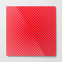 Small Carmine Red with White Polka Dots Metal Print