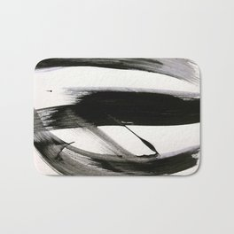 Brushstroke 9: a bold, minimal, black and white abstract piece Badematte