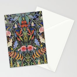 Summer plants nature pattern 3 Black background-mirrow Stationery Cards