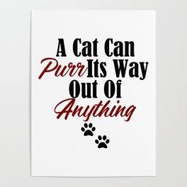 Funny Cat Purr Kitty Master Meow Kitten Pet Whisperer Poster