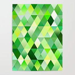 Lime Green Yellow White Diamond Triangles Mosaic Pattern Poster