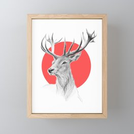 Deer | red Framed Mini Art Print