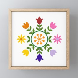 Scandinavian Style Colorful Flowers Wheel Framed Mini Art Print