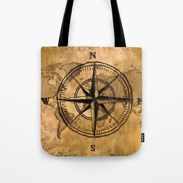 Destinations - Compass Rose and World Map Tote Bag