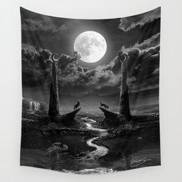 XVIII. The Moon Tarot Card Illustration Wall Tapestry